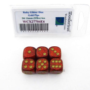 Ruby Glitter Dice with Gold Pips 16mm (5/8in) D6 Set of 6 Wondertrail