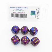 Blue and Purple Gemini Dice with Gold Pips D6 16mm (5/8in) Pack of 6 Wondertrail
