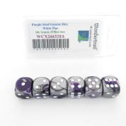 Purple and Steel Gemini Dice with White Pips D6 16mm (5/8in) Pack of 6 Wondertrail