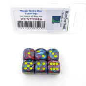 Mosaic Festive Dice with Yellow Pips 16mm (5/8in) D6 Set of 6 Wondertrail