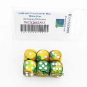 Gold and Green Gemini Dice with White Pips D6 16mm (5/8in) Pack of 6 Wondertrail