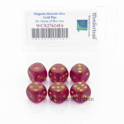 Magenta Borealis Dice with Gold Pips 16mm (5/8in) D6 Set of 6 Wondertrail