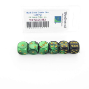 Black and Green Gemini Dice with Gold Pips D6 16mm (5/8in) Pack of 6 Wondertrail