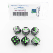 Black and Grey Gemini Dice with Green Pips D6 16mm (5/8in) Pack of 6 Wondertrail