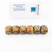 Gold Lustrous Dice with White Pips 16mm (5/8in) D6 Set of 6 Wondertrail