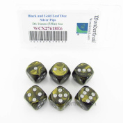 Black and Gold Leaf Dice with Silver Pips 16mm (5/8in) D6 Set of 6 Wondertrail