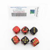 Black and Red Gemini Dice with Gold Pips D6 16mm (5/8in) Pack of 6 Wondertrail