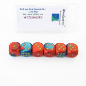 Red and Teal Gemini Dice with Gold Pips D6 16mm (5/8in) Pack of 6 Wondertrail