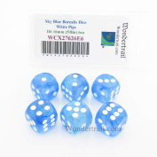 Sky Blue Borealis Dice with White Pips 16mm (5/8in) D6 Set of 6 Wondertrail