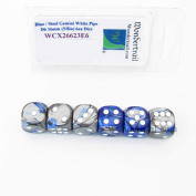 Blue and Steel Gemini Dice with White Pips D6 16mm (5/8in) Pack of 6 Wondertrail