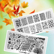 Whats Up Nails - 2 Pack Variety Stamping Plates (A011, B021) for Autumn Fall Stamped Nail Art Design