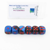 Black and Starlight Gemini Dice with Red Pips D6 16mm (5/8in) Pack of 6 Wondertrail