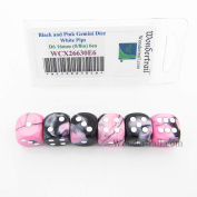 Black and Pink Gemini Dice with White Pips D6 16mm (5/8in) Pack of 6 Wondertrail