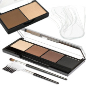 Eyebrow Powder kit Palette 4 Shades Light- Dark plus 6 Eyebrow Shaping Stencils, Eyebrow Applicator Brush/Comb by Yurily