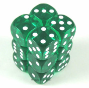 Green Transparent Dice with White Pips D6 16mm (5/8in) Pack of 12 Koplow Games