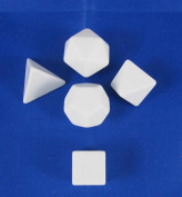 Platonic Blank Dice White Dice with No Pips D6 16mm (5/8in) Pack of 5 Koplow Games