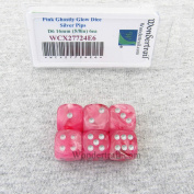 Pink Ghostly Glow Dice with Silver Pips 16mm (5/8in) D6 Set of 6 Wondertrail