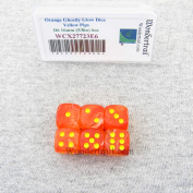 Orange Ghostly Glow Dice with Yellow Pips 16mm (5/8in) D6 Set of 6 Wondertrail
