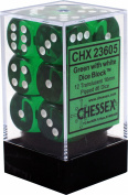 Chessex Translucent Green w/ White 16mm (Standard) 12 Dice Set CHX23605