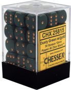 Chessex Opaque Dusty Green w/ Copper 12mm (Small) 36 Dice Set CHX25815