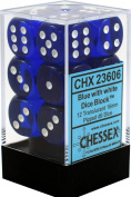 Chessex Translucent Blue w/ White 16mm (Standard) 12 Dice Set CHX23606