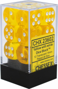 Chessex Translucent Yellow w/ White 16mm (Standard) 12 Dice Set CHX23602