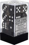 Chessex Translucent Smoke w/ White 16mm (Standard) 12 Dice Set CHX23608