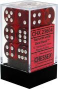 Chessex Translucent Red w/ White 16mm (Standard) 12 Dice Set CHX23604