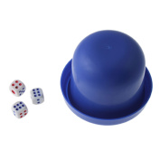 Game Dice Roller Cup Deep Blue w 3 Dices