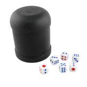 Game Dice Roller Cup Black w 6 Round Corner Dices