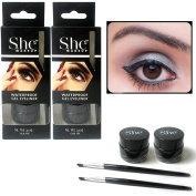 2 Black Gel Eyeliner Liquid Waterproof Brush Pen Pencil Smokey Eye Liner Make Up