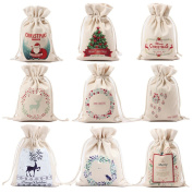 Yesido. Beige Christmas Gifts Bag, Durable Canvas Bags Drawstring Gift Candy Storage
