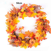 SANNYSIS Thanksgiving Day Large Wreath with Berry Maple Leaf Fall for Door Wall Ornament Garland Decoration 50cm