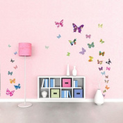 Decowall DW-1201 38 Colourful Butterflies Kids Wall Decals Wall Stickers Peel and Stick Removable Wall Decals for Kids Nursery Bedroom Living Room