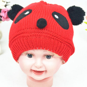 Yesido. Cute Panda Baby Warm Hat Autumn And Winter Baby Kintted Hat Panda Double Ball Hat