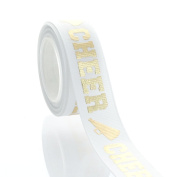 2.2cm Gold Cheer Text Grosgrain Ribbon 5yd