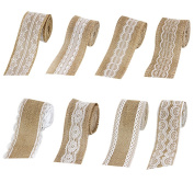 Jute Burlap Ribbon Roll with Lace Arts Crafts Supplies Wedding Party Baby Shower Decoration 8Pcs