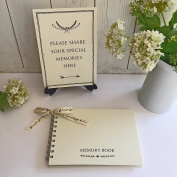 A5 Ivory Memory Book & 'Share Your Memories' Sign Set for Funeral, Remembrance, Condolence, Celebration of Life - by Angel & Dove