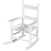 Costzon Kids Rocking Chair, Children Classic Wooden Proch Rocker, White