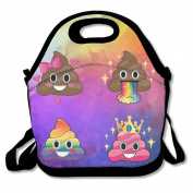 Hoeless Emoji Rainbow Poop Insulated Lunch Bag With Zipper,Carry Handle And Shoulder Strap For Adults Or Kids Black