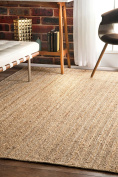 nuLOOM Jute Collection 100-Percent Jute Area Rug, 2.4m Round, Solid, Natural