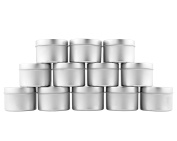120ml Small Candle Tins (12-Pack); Metal Storage Containers w/ Slip-On Lids for Candle Making, Party Favours, Spices, Gifts, Balms & Gels