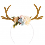 Tinksky Funny Deer Antler Headband with Flowers Blossom Novelty Party Hair Band Head Band Christmas Fancy Dress Costumes Accessory Christmas Birthday Gift for women girls