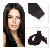 Mario Hair Tape in Extensions Human Hair Natural Black Silky Straight Skin Weft Human Remy Hair