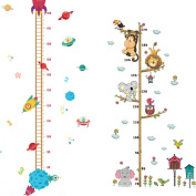 2PCS Baby Height Growth Chart Hanging Rulers Animals Spaceship Rocket Kids Room DIY Wall Decor Removable Home Decoration Art Mural Wallpaper
