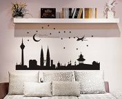 WEIYI Creative Twin Towers Night View Wall Art Stickers for Home Room Decor