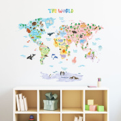 Decowall DMT-1615S Animal World Map Peel and Stick Nursery Kids Wall Decals Stickers