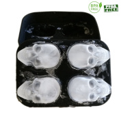 3D Skull Silicone Ice Cube Mould Tray,Vivid Skull Mould,Four Cavity,Ice Cube Maker in Shapes for Whiskey Ice , Cocktails ,Cola,ADD,BLACK