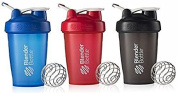 BlenderBottle 590ml Classic Loop Top Shaker Bottle 3-Pack, Full Colour Blue/Black/Red
