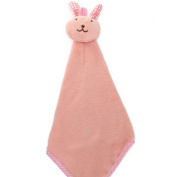 Iumer Baby Hand Towel Cartoon Animal Rabbit Plush Kitchen Soft Hanging Bath Wipe Towel Pink